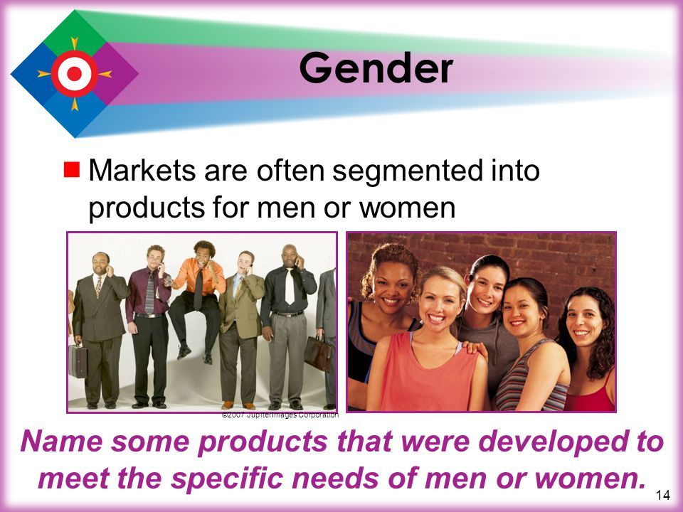 Gender Markets are often segmented into products for men or women