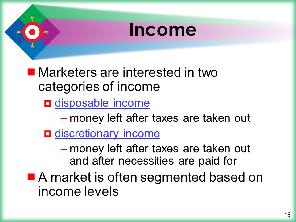 Income Marketers are interested in two categories of income