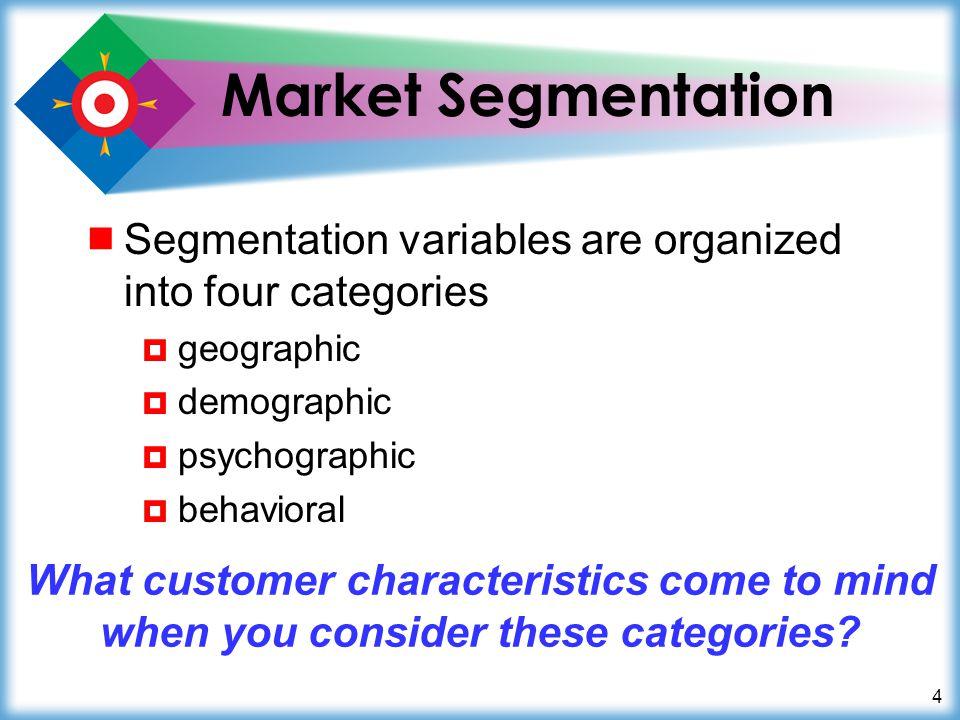 Market Segmentation Segmentation variables are organized into four categories. geographic. demographic.