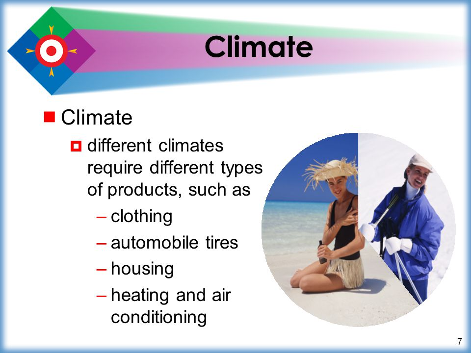 Climate Climate. different climates require different types of products, such as. clothing. automobile tires.