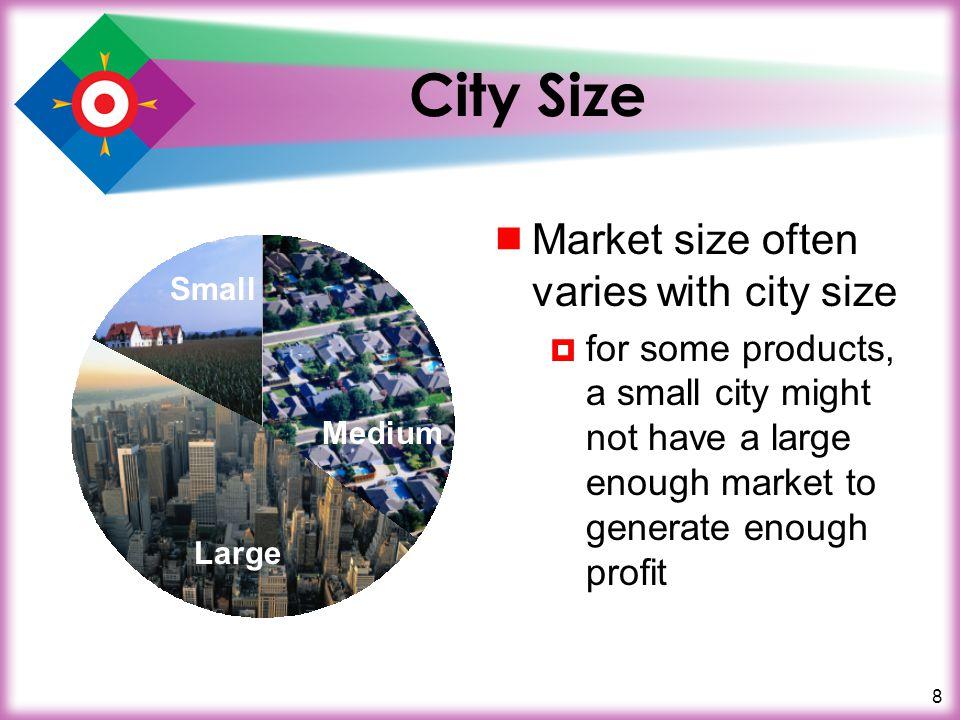 City Size Market size often varies with city size