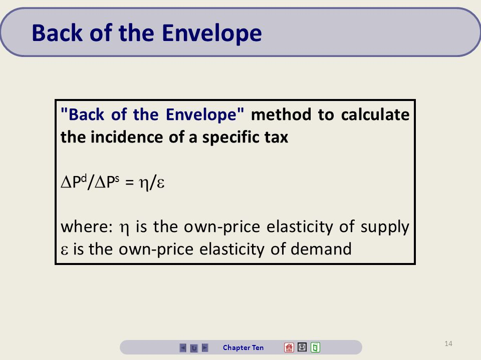 Back of the Envelope Back of the Envelope method to calculate the incidence of a specific tax. Pd/Ps = /