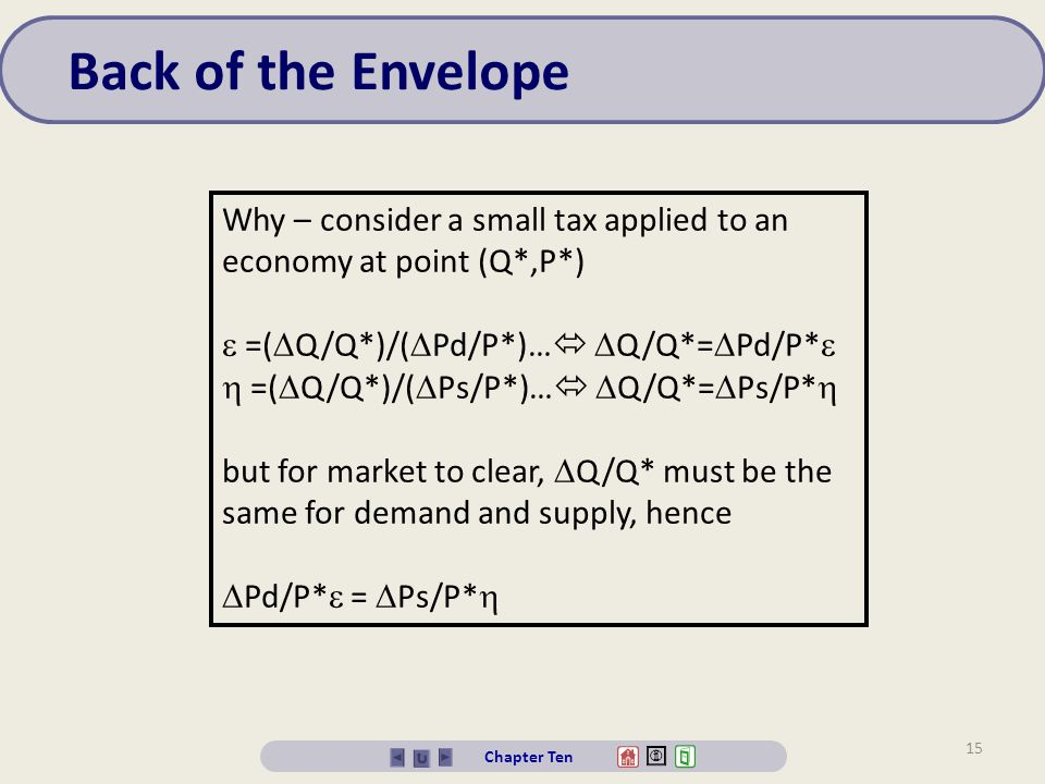 Back of the Envelope Why – consider a small tax applied to an economy at point (Q*,P*)  =(Q/Q*)/(Pd/P*)… Q/Q*=Pd/P*