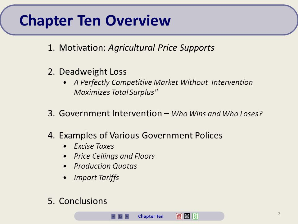 Chapter Ten Overview Motivation: Agricultural Price Supports