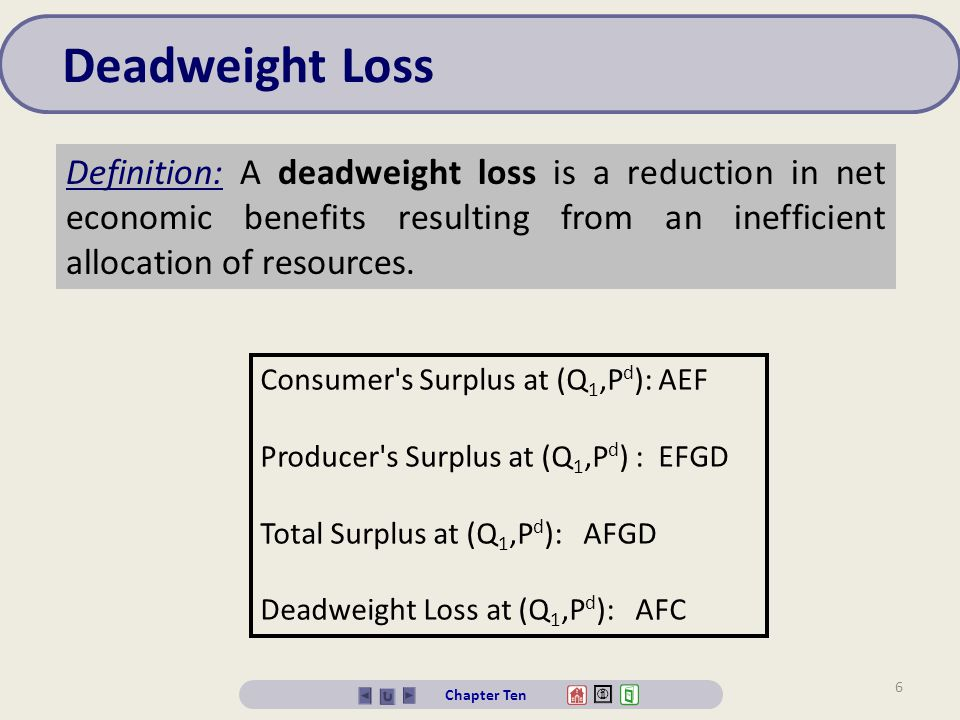 Deadweight Loss Definition: A deadweight loss is a reduction in net economic benefits resulting from an inefficient allocation of resources.