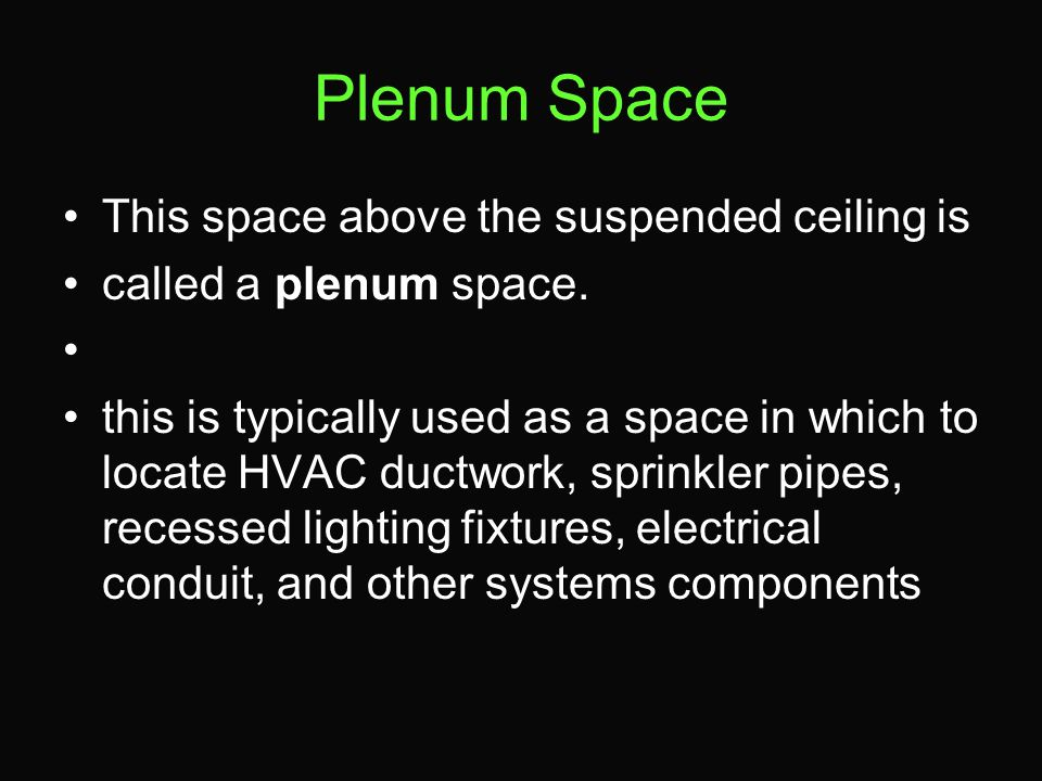 Plenum Space This space above the suspended ceiling is