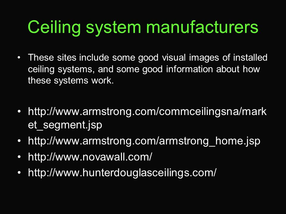 Ceiling system manufacturers