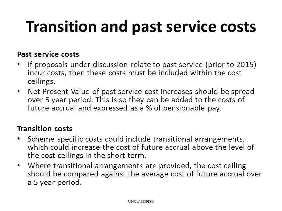Transition and past service costs