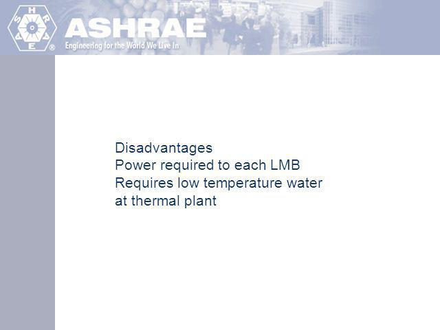 Disadvantages Power required to each LMB Requires low temperature water at thermal plant