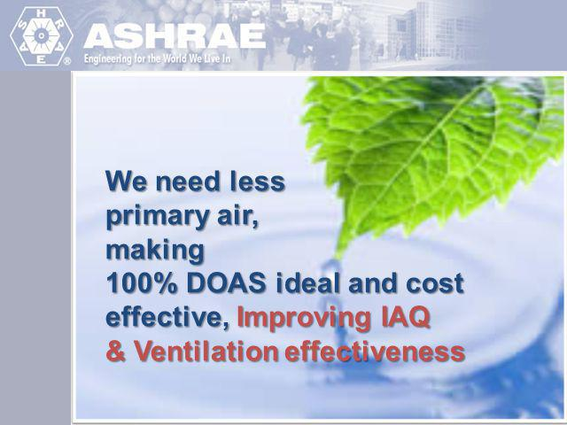 We need less primary air, making. 100% DOAS ideal and cost effective, Improving IAQ.