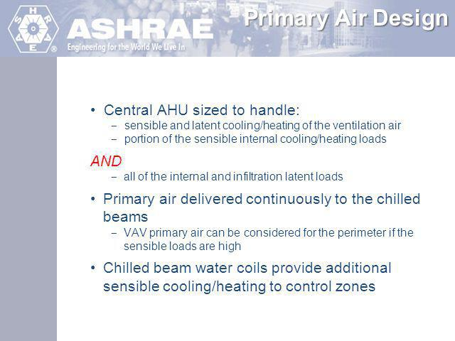 Primary Air Design Central AHU sized to handle: AND