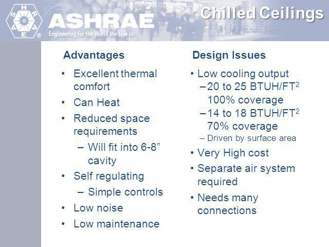Chilled Ceilings Advantages Design Issues Excellent thermal comfort