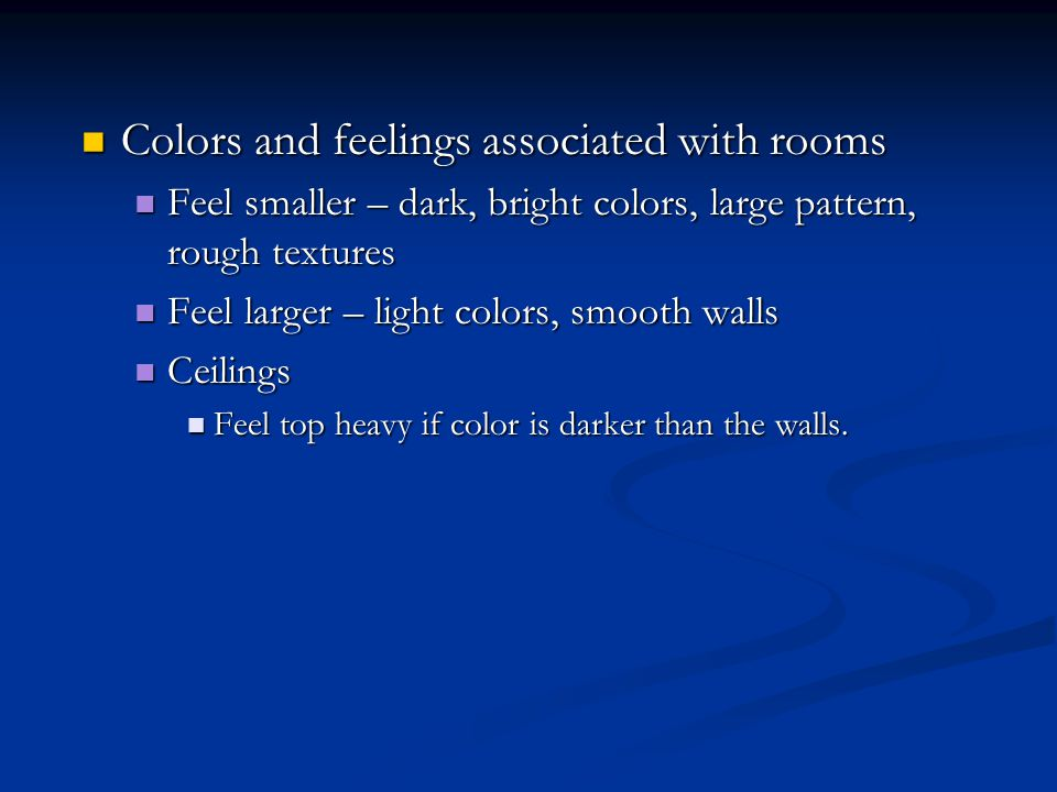 Colors and feelings associated with rooms