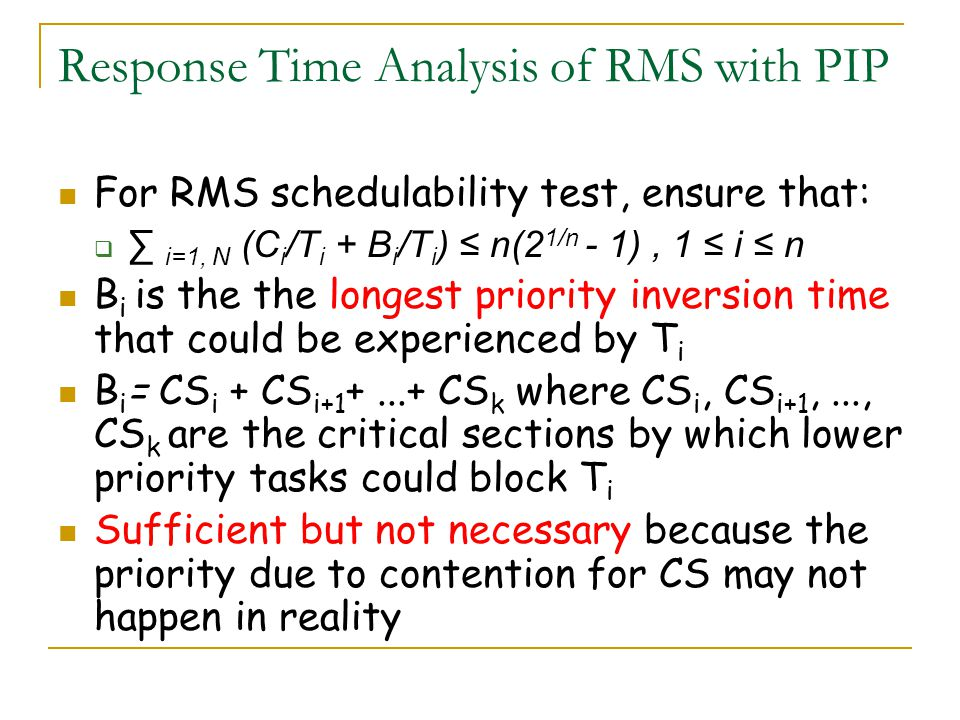 Response Time Analysis of RMS with PIP