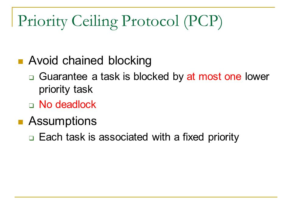 Priority Ceiling Protocol (PCP)