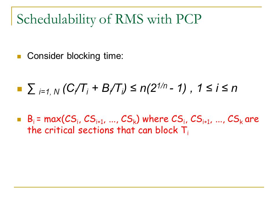 Schedulability of RMS with PCP