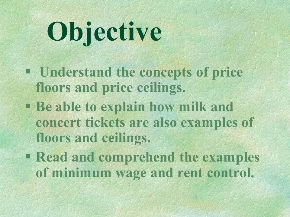 Objective Understand the concepts of price floors and price ceilings.