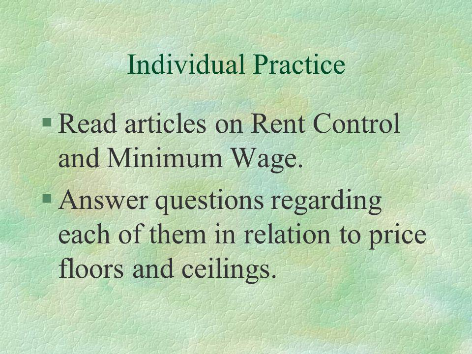 Read articles on Rent Control and Minimum Wage.