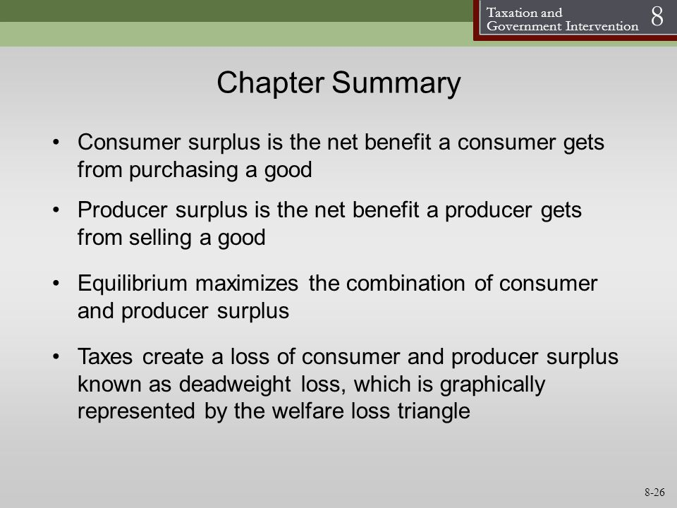Chapter Summary Consumer surplus is the net benefit a consumer gets from purchasing a good.