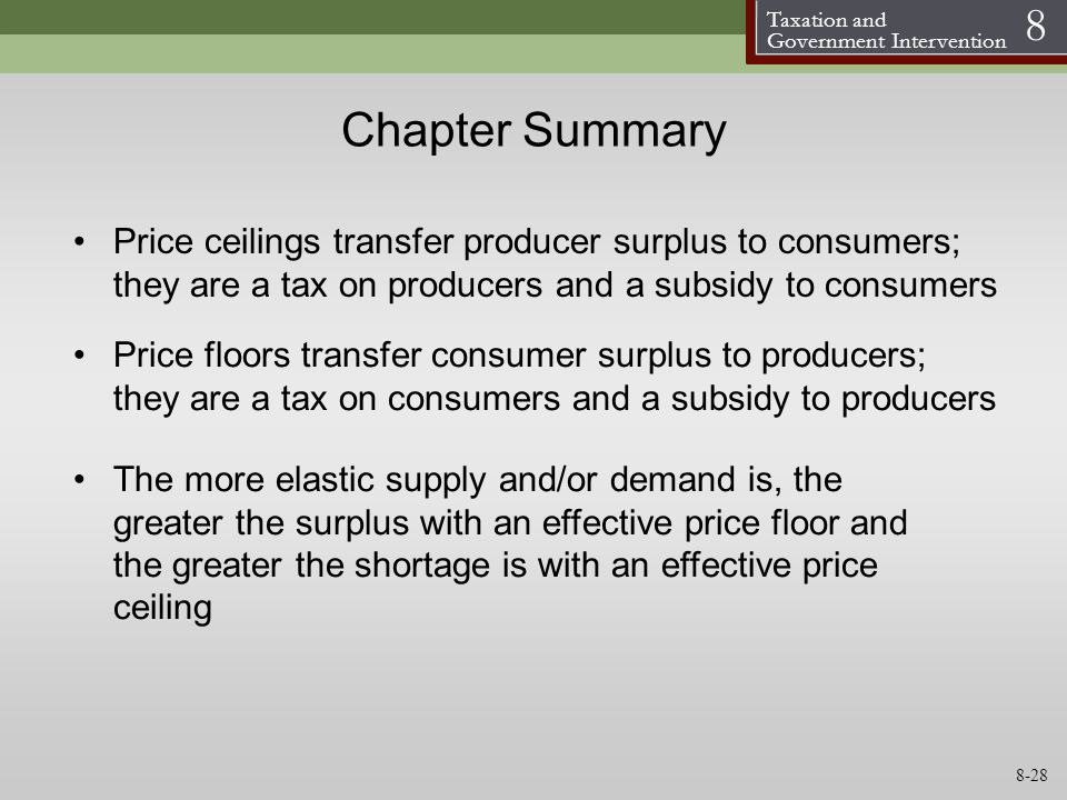 Chapter Summary Price ceilings transfer producer surplus to consumers; they are a tax on producers and a subsidy to consumers.