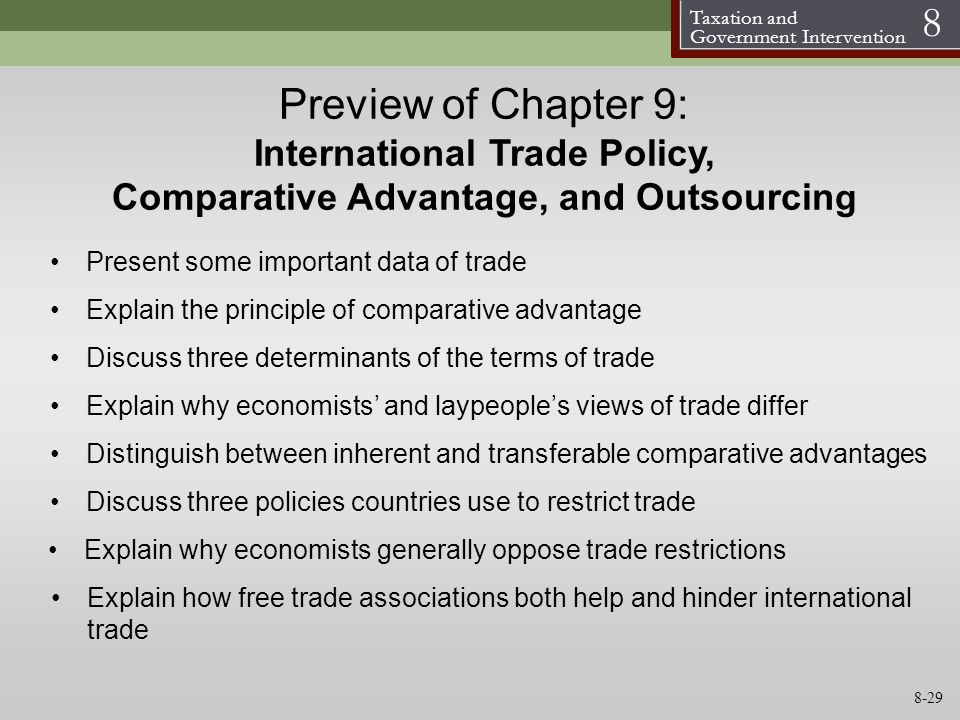 Preview of Chapter 9: International Trade Policy, Comparative Advantage, and Outsourcing