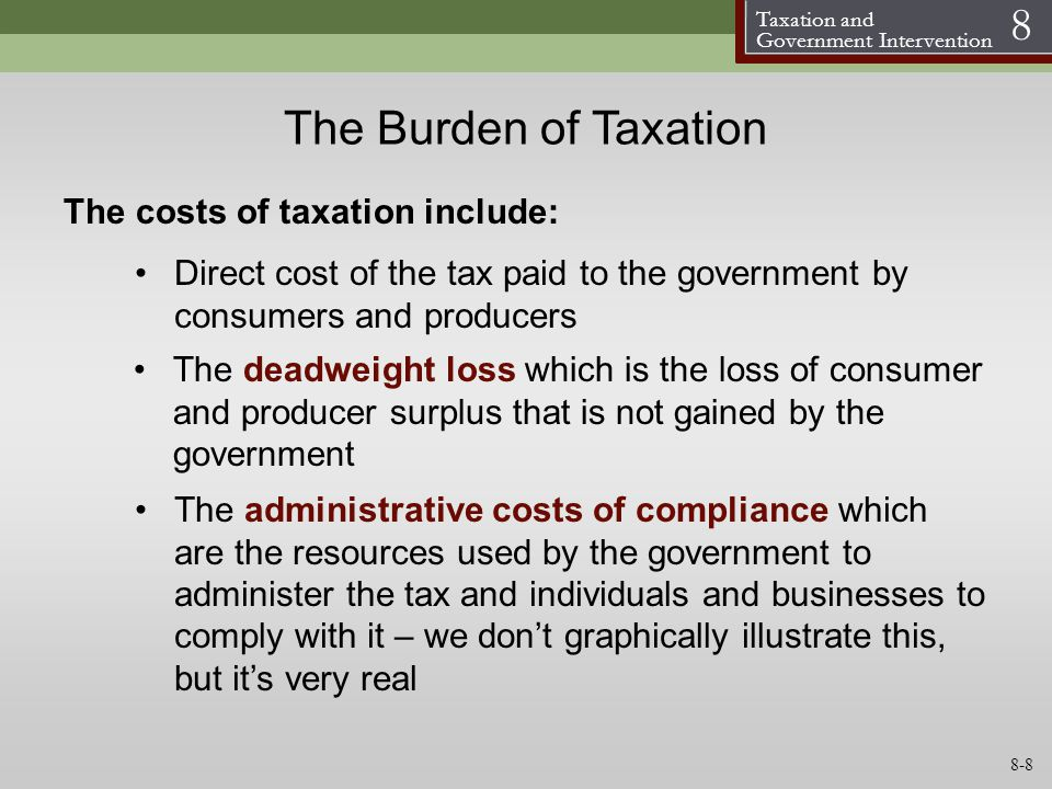 The Burden of Taxation The costs of taxation include: