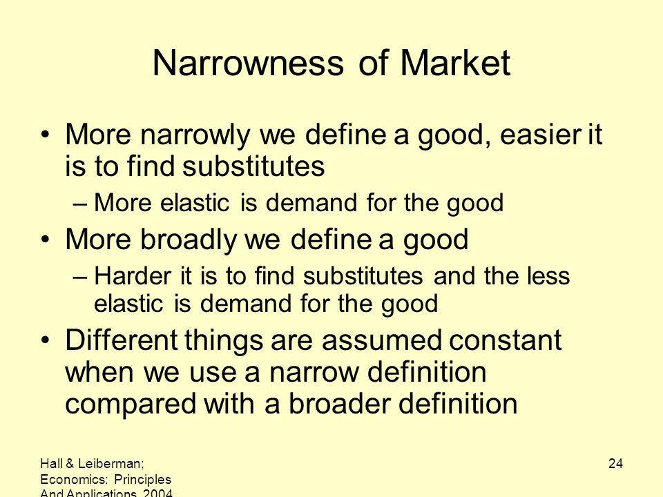 Narrowness of Market More narrowly we define a good, easier it is to find substitutes. More elastic is demand for the good.