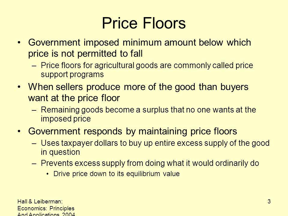 Price Floors Government imposed minimum amount below which price is not permitted to fall.