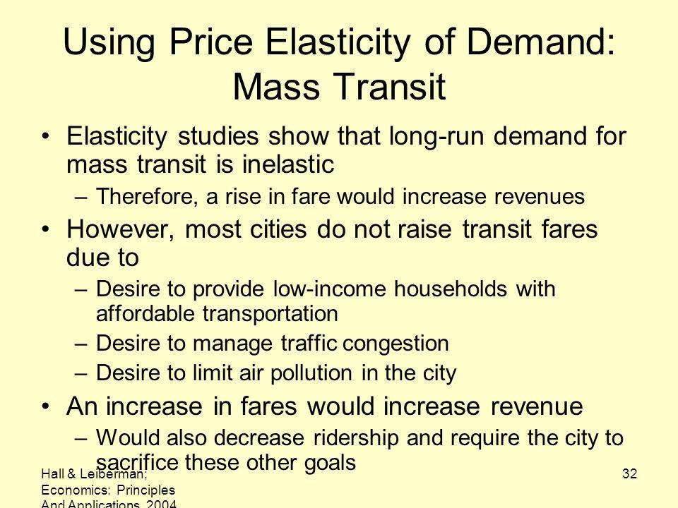 Using Price Elasticity of Demand: Mass Transit