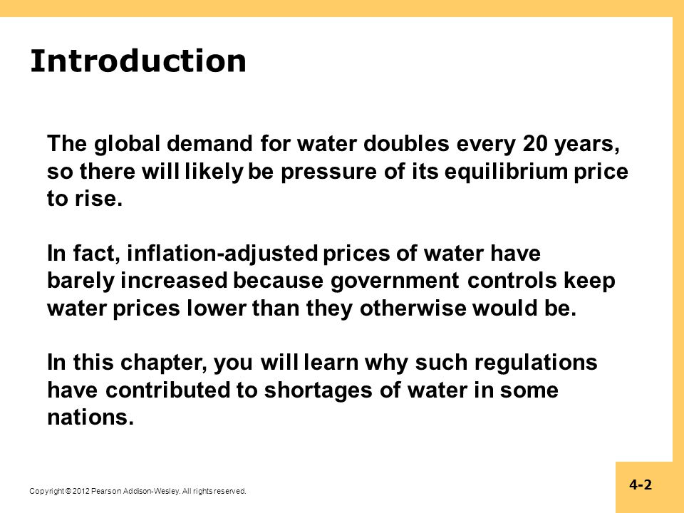 Introduction The global demand for water doubles every 20 years, so there will likely be pressure of its equilibrium price to rise.