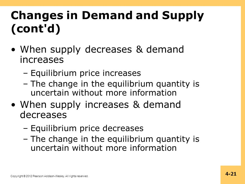 Changes in Demand and Supply (cont d)
