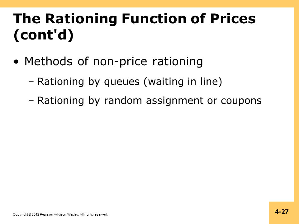 The Rationing Function of Prices (cont d)