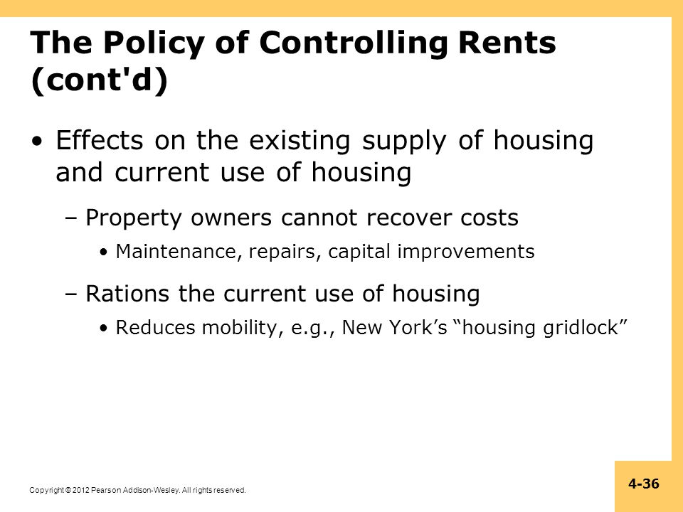 The Policy of Controlling Rents (cont d)