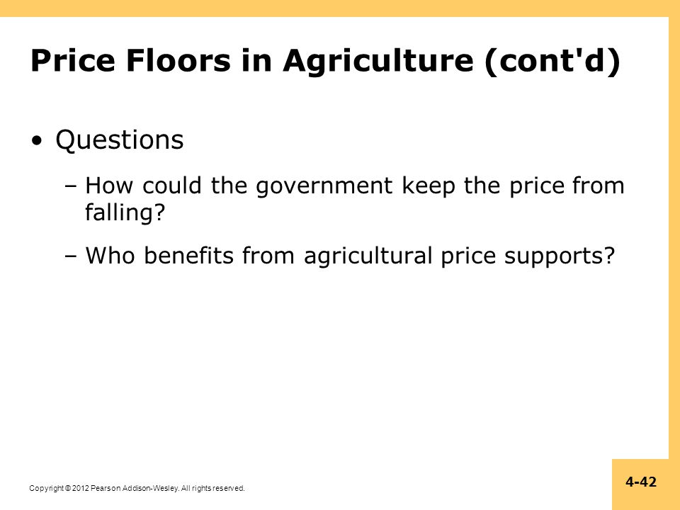 Price Floors in Agriculture (cont d)