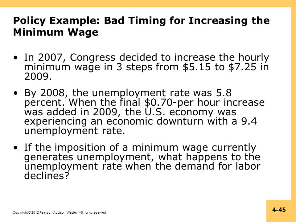 Policy Example: Bad Timing for Increasing the Minimum Wage