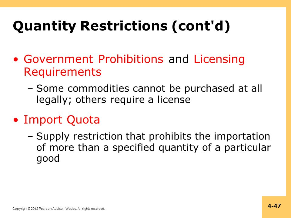 Quantity Restrictions (cont d)