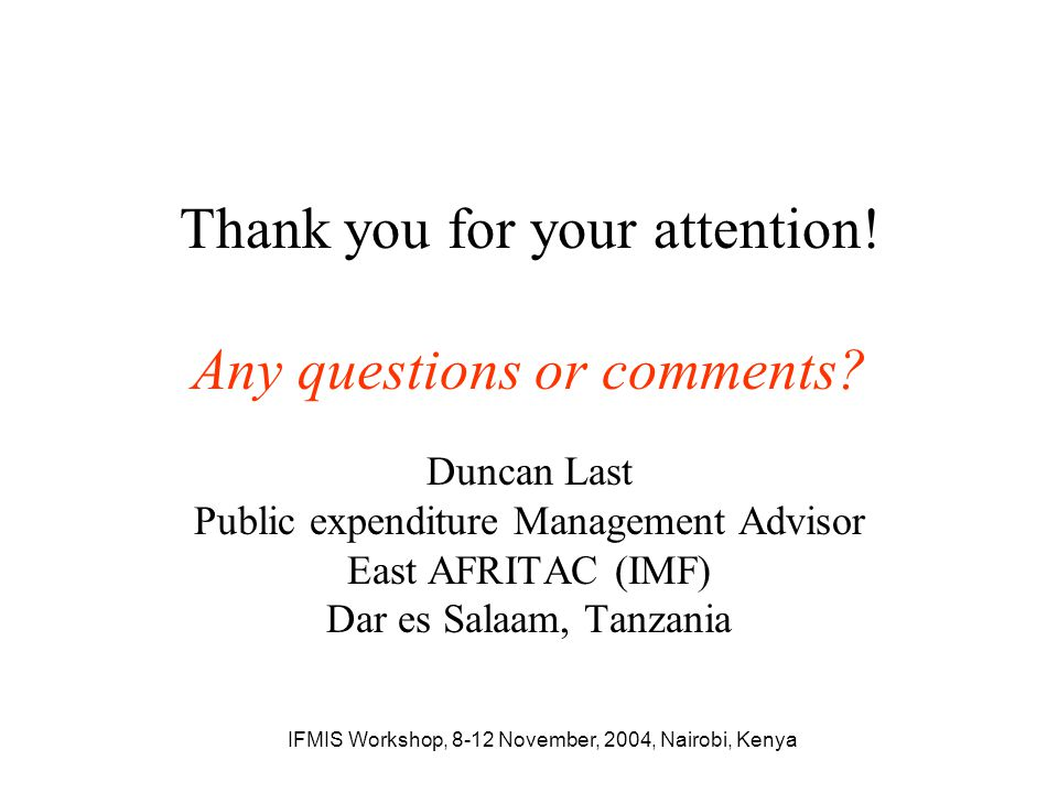 Thank you for your attention! Any questions or comments