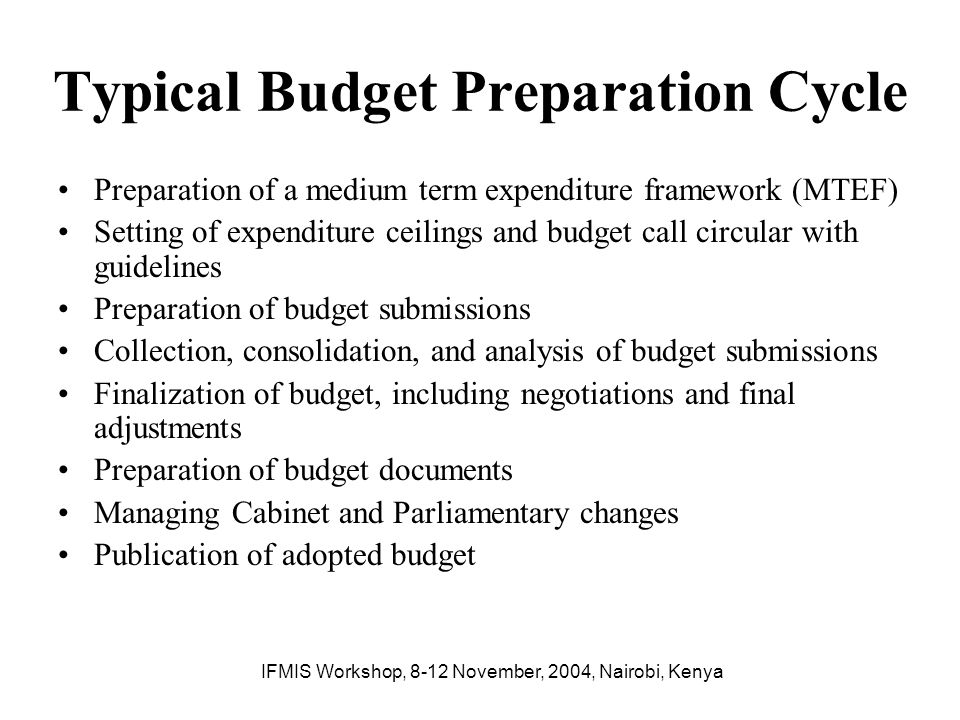 Typical Budget Preparation Cycle