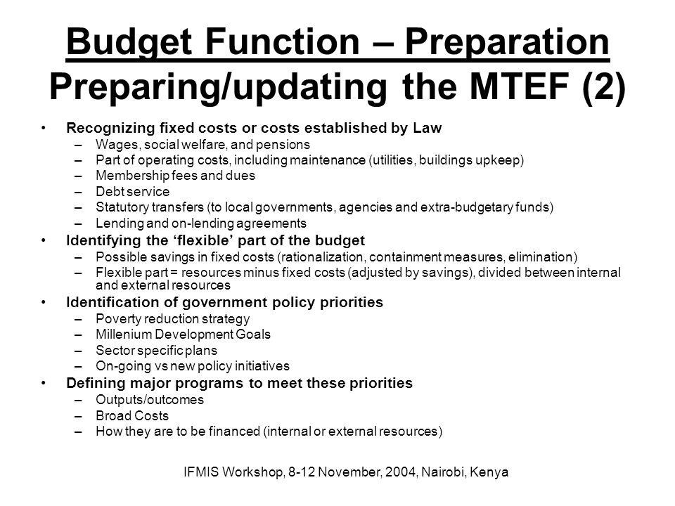 Budget Function – Preparation Preparing/updating the MTEF (2)