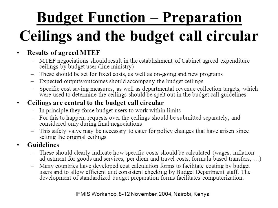 Budget Function – Preparation Ceilings and the budget call circular