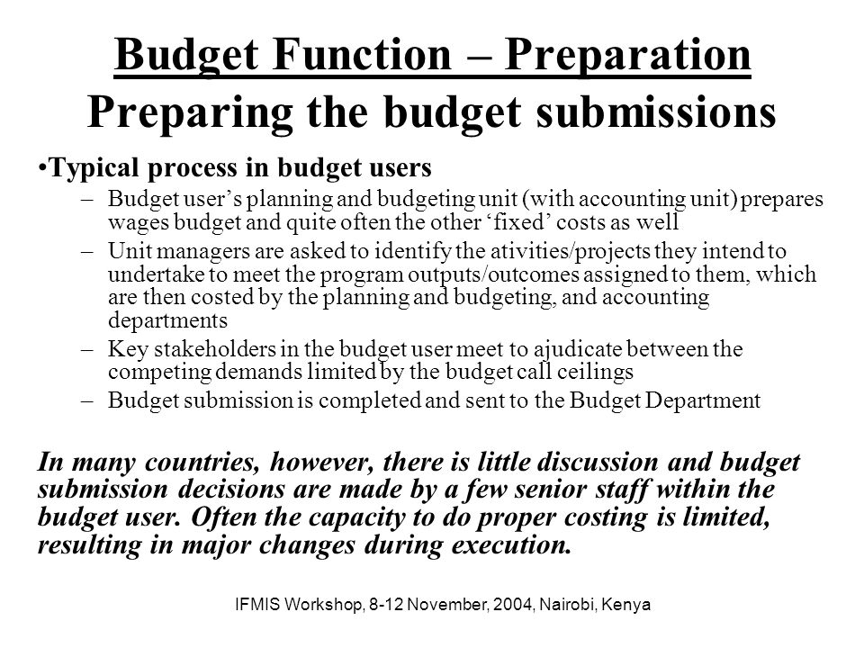 Budget Function – Preparation Preparing the budget submissions