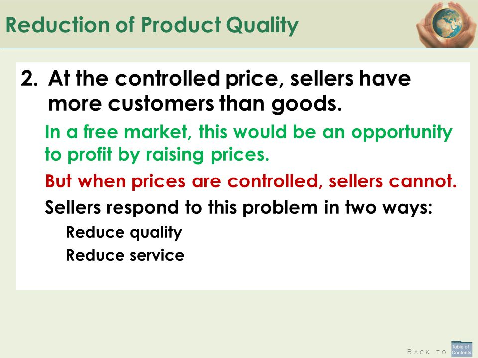 Reduction of Product Quality