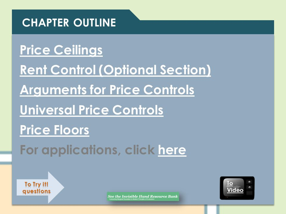 Rent Control (Optional Section) Arguments for Price Controls