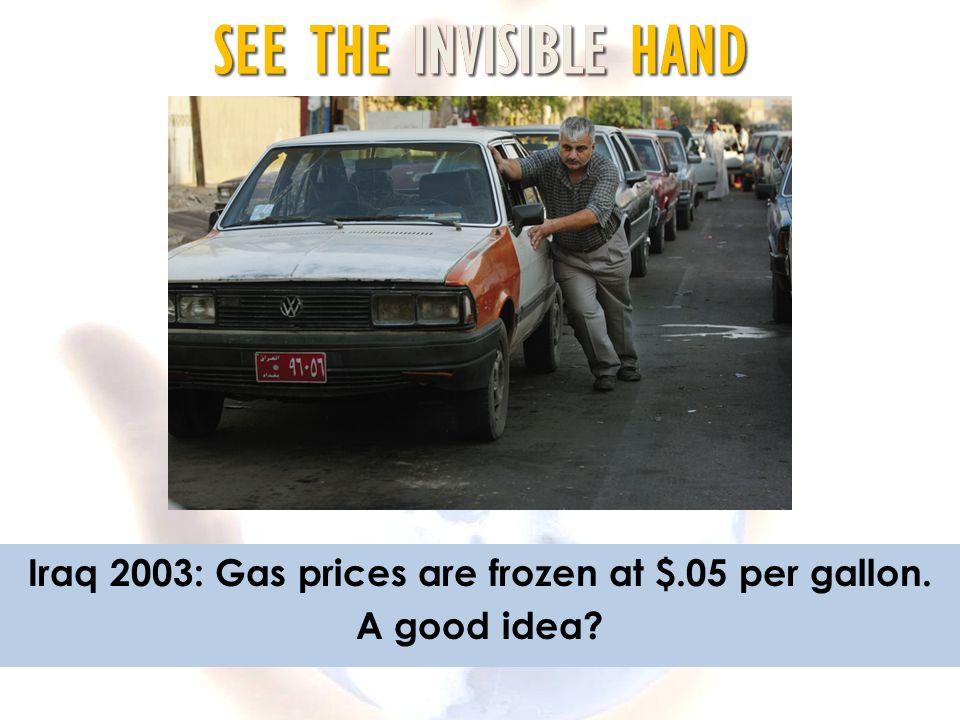 Iraq 2003: Gas prices are frozen at $.05 per gallon.