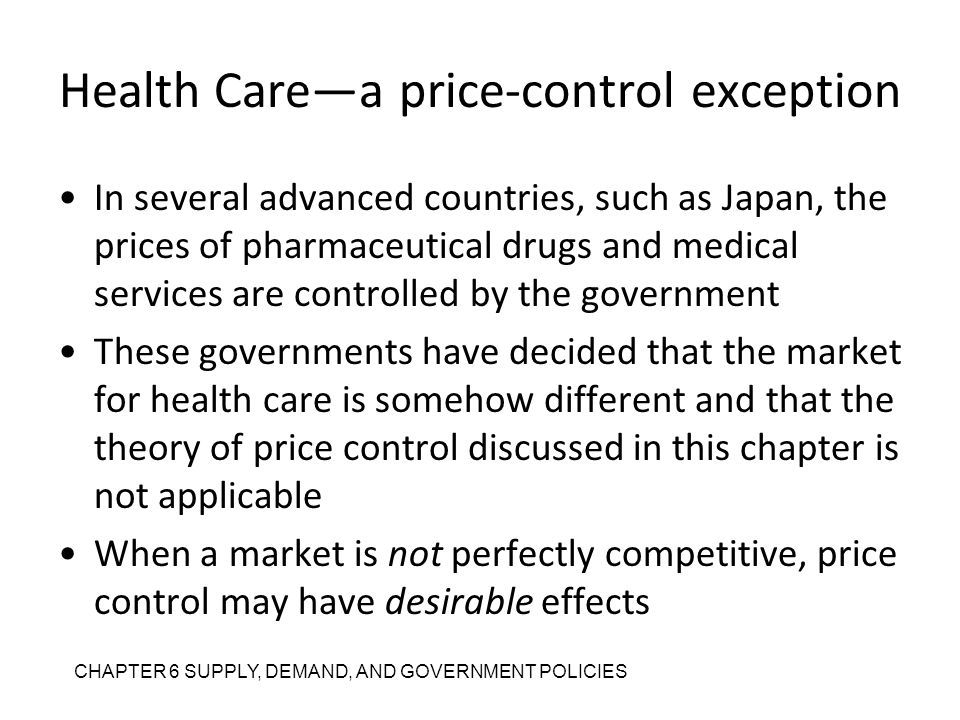 Health Care—a price-control exception