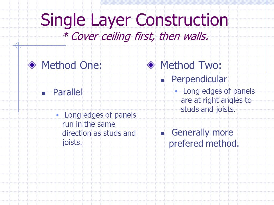 Single Layer Construction * Cover ceiling first, then walls.