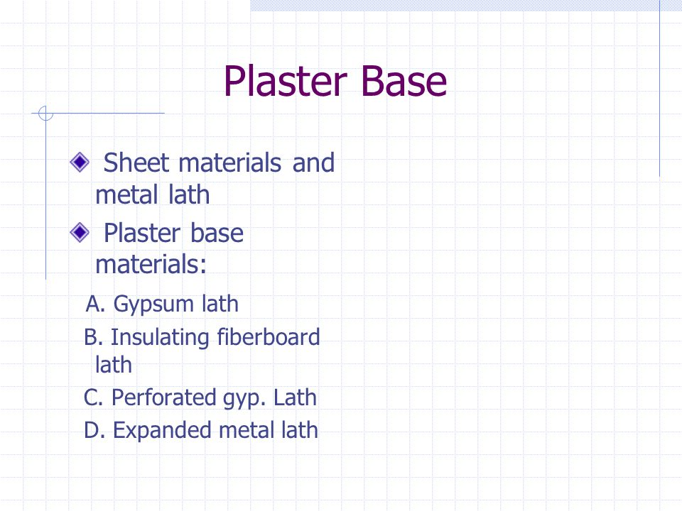 Plaster Base Sheet materials and metal lath Plaster base materials: