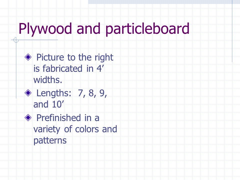 Plywood and particleboard
