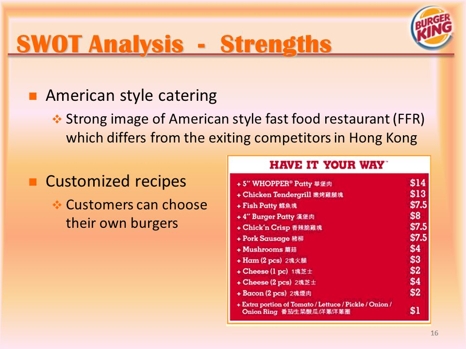 Sample of a SWOT Analysis for a Restaurant