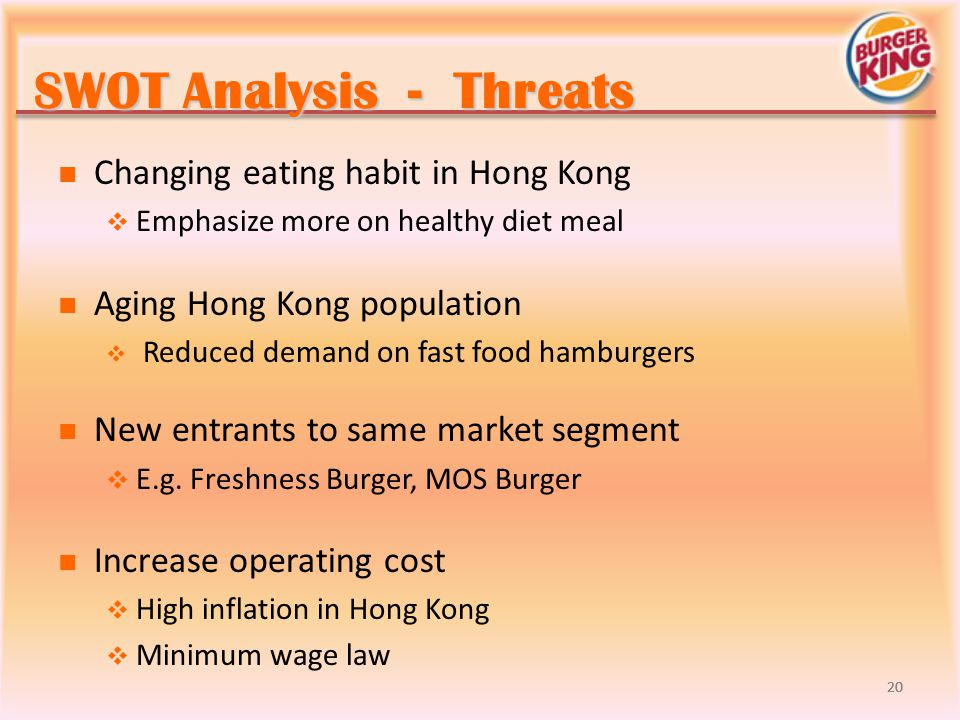 hong kong burger king swot This research market proposal is for burger king for their marketing strategies to launch their new swot analysis for burger kings new café i will have to.